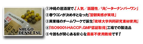 1.沖縄の居酒屋で「人気/話題性/リピーターナンバーワン」 2.春ウコンが決め手となった「翌朝実感が実現」 3.異業種のチームワークで誕生「琉球大学共同研究素材使用」 4.「ISO9001-HACCP、GMP認証取得」工場での製造品 5.今誰もが関心ある安心な農薬不使用栽培です