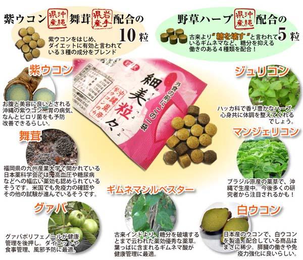 紫ウコン舞茸配合の10粒、野草ハーブ配合の5粒